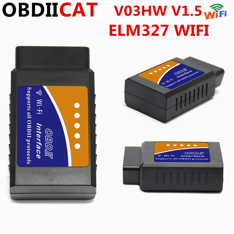 20pcs/lot DHL ELM 327 V03HW V03HW 1 V1.5 WIFI PIC18F25K80 OBD2 OBDII Auto Code Reader WIFI Super Mini ELM327 For Android / IOS on