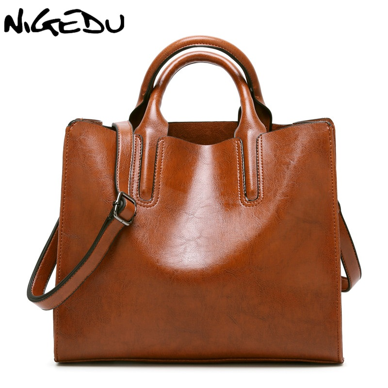 NIGEDU Brand Leather Women Handbags Famous Big Women Tote  Bags Casual Shoulder Bag Ladies large Bolsos Mujer Office bag luxury famous brand women female ladies casual bags leather hello kitty handbags shoulder tote bag bolsas femininas couro