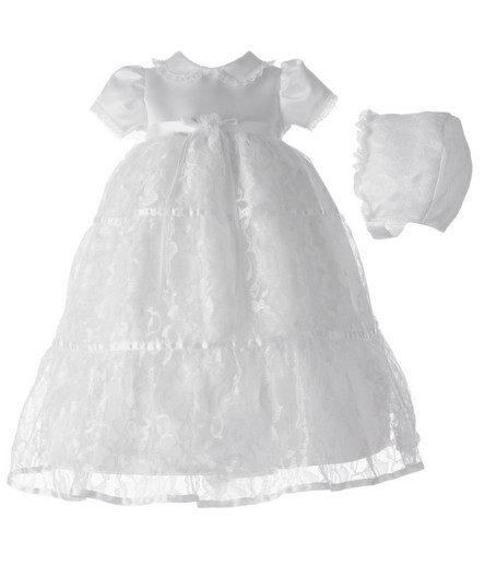 2016 New White Ivory Christening Dress Baptism Gown Baby Girl Boy Todder Lace Satin WITH BONNET 0 3 6 9 12 18 24month