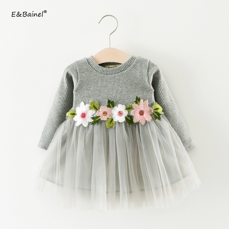 2018 Brand Gown Infant Baby Dresses Long Sleeve Flower Embroidery Party Dress Lace Bebes Girls Clothes Fashion Toddler Clothing ...