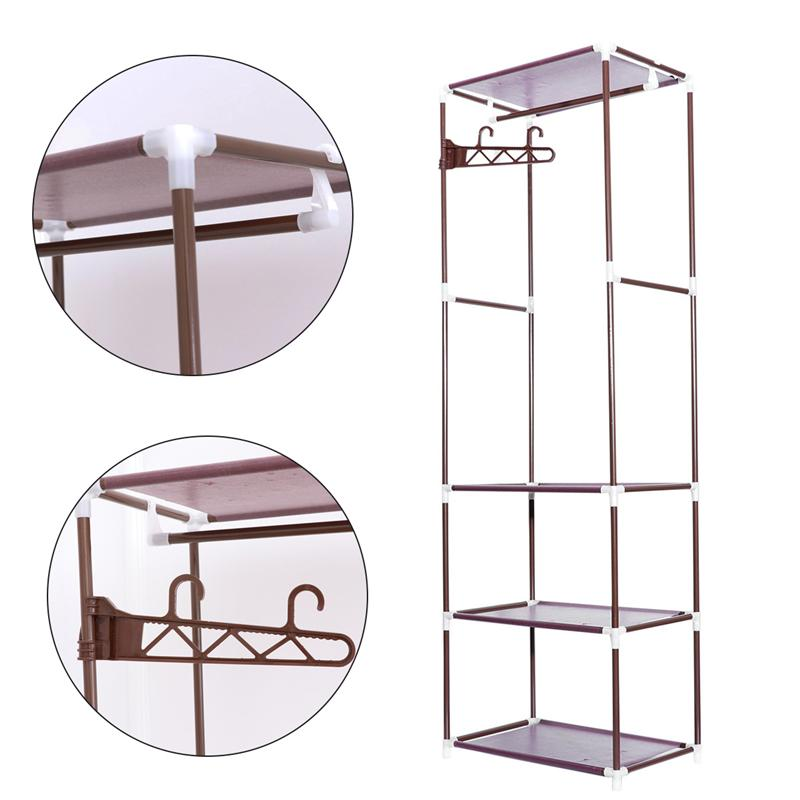 1pcs Portable Clothes Rack Organizer Bedroom Garment Floor-standing Shelf Clothing Coat Rack Storage Stand Bathroom Fixtures Bathroom Shelves
