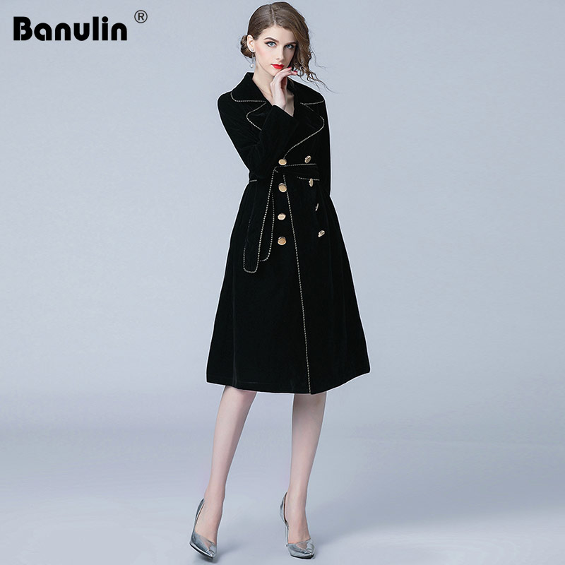 Banulin New Autumn Winter Black Velvet   Trench   Coat Women Notched Collar Double-Breasted With Belt Thick Warm Windbreaker Outwear