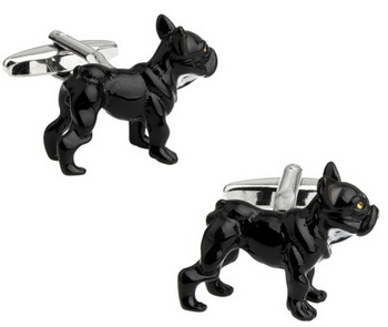 Factory Price Retail Novelyu Animal Cufflinks For Men Fashion Copper Material Black Wolfhound Design Cuff Links Free Shipping image