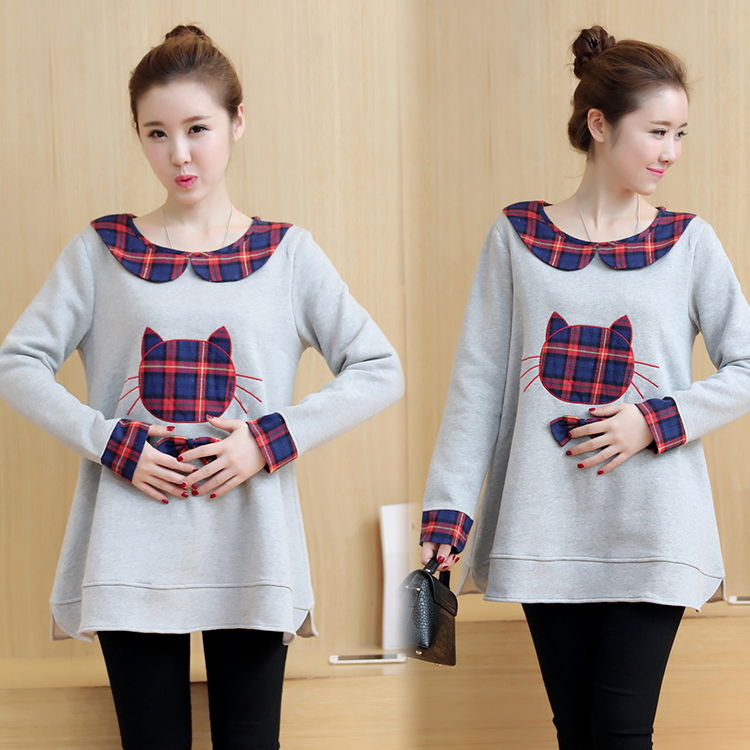 Pregnant women autumn and winter Korean version of cute cat pregnant women sweater plus velvet thickening
