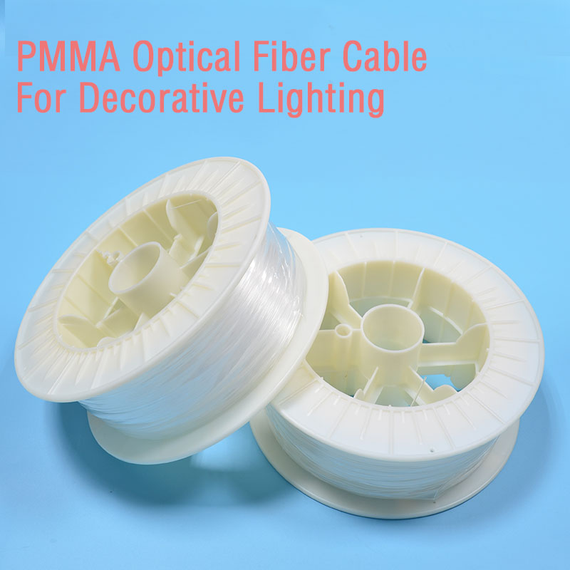 2.5mm diameter/250m/roll PMMA plastic fiber optic cable end glow for decoration lighting fiber Chandelier lighting free shipping