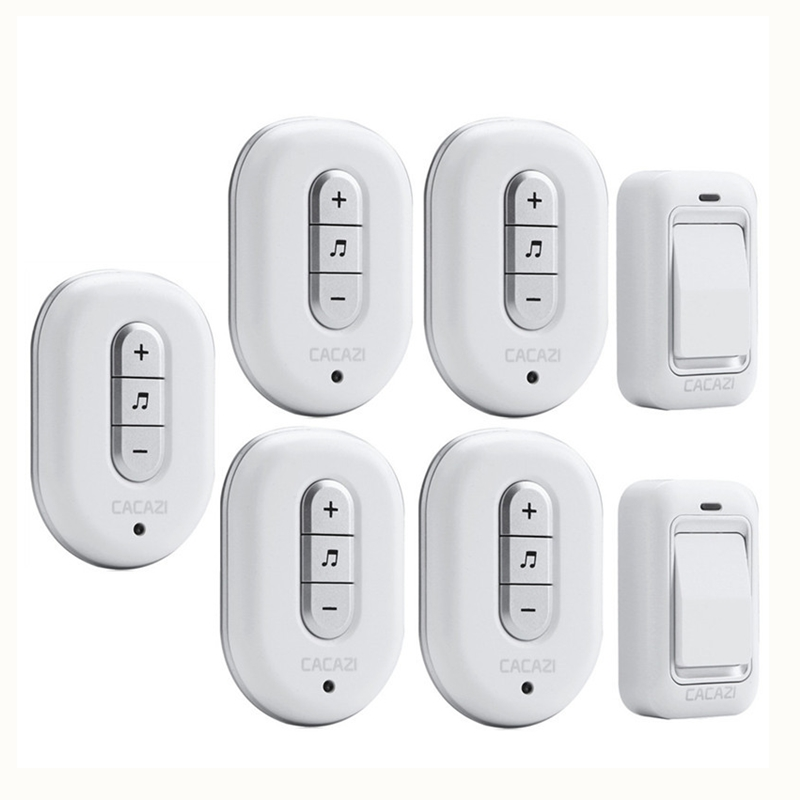 CACAZI Wireless DoorBell No need Battery Waterproof smart Door Bell Cordless 120M Remote AC 110V-220V 2 transmitters+5 Receivers kinetic cordless smart home doorbell 2 button and 1 chime battery free button waterproof eu us uk wireless door bell