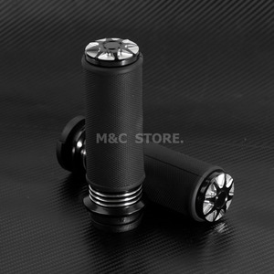 """Image 3 - Motorcycle Accessories 1"""" Electric Burst Handlebar Hand Grips Black For Harley Touring Dyna Softail Custom For Honda For Yamaha"""