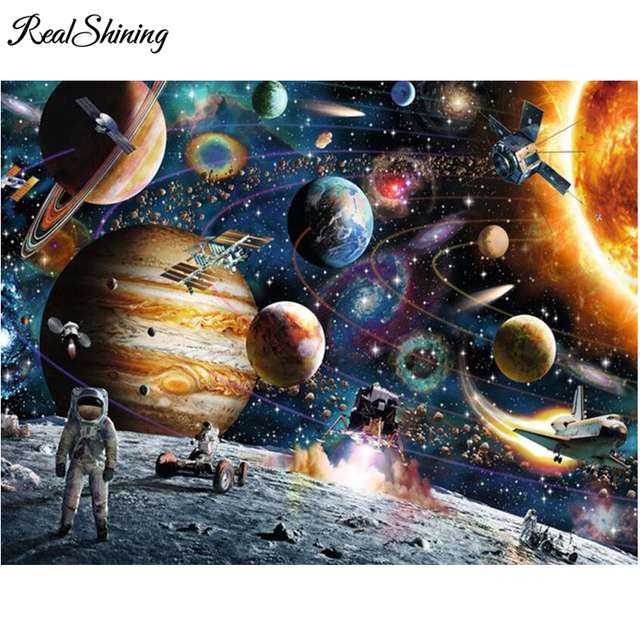 REALSHINING mosaic Diamond Painting Outer Space View