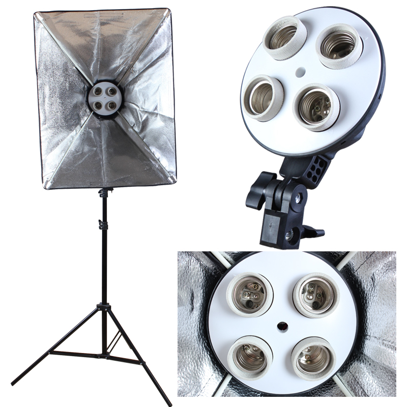 Image 2 - Photo Studio Diffuser 50*70cm Softbox E27 4 Lamp Holder Continuous Lighting Soft Box Kit include Light Stand with 45w Bulbs-in Softbox from Consumer Electronics