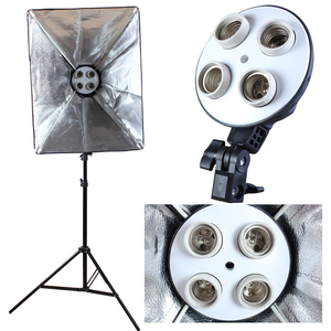 Image 2 - Photo Studio Diffuser 50*70cm Softbox E27 4 Lamp Holder Continuous Lighting Soft Box Kit include Light Stand with 45w Bulbs