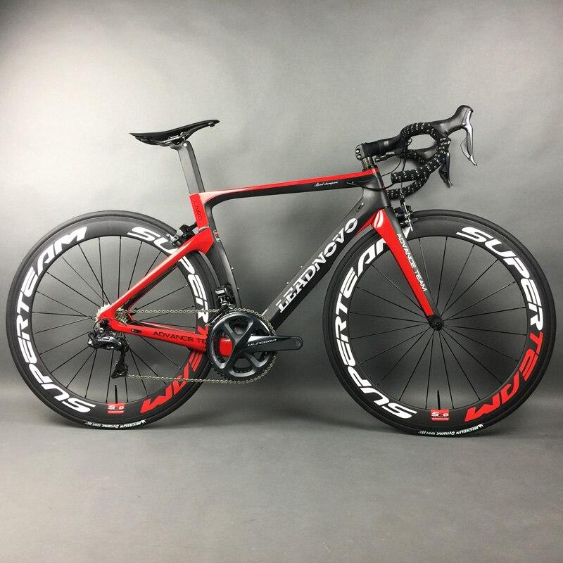 完全なフルカーボンファイバーロードバイクレースサイクリング Leadnovo 黒 赤 白で 9/10/11 速度  グループ上の スポーツ & エンターテイメント からの 自転車 の中 2
