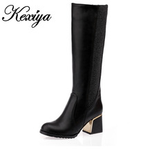 Big size 30-50 Women's shoes Fashion Winter Knee High Boots Sexy Vintage Square High Heels elegant ladies' Boots HQW-A9
