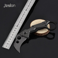 Jeslon Knives Folding Blade Pocket Hunting Knife 440C Steel Carbon Fiber Handle Rescue Camping Tactical Survival