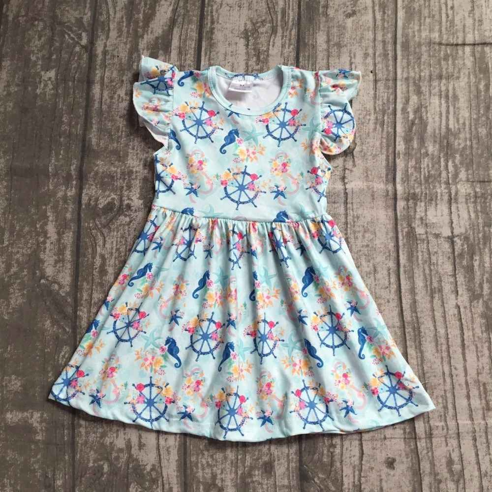 baby girls summer dress clothing girls sea horse floral dress children girls floral dress milksilk dress boutique summer dress