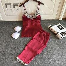 Sexy Lace Pajamas for Women Satin Pajamas Sets Elegant Silk Sleepwear Female Top+Long Pants 2018 Spring Autumn Home Clothing