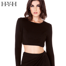 цена на HYH HAOYIHUI Women Shirt Solid Black Backless Long Sleeve Crew Neck Cut Out Short Tops Basic Casual Streetwear Slim Female Shirt