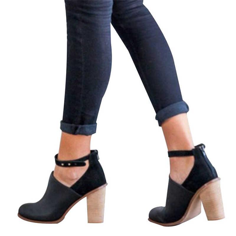 Neue Mode frauen Schnalle Schuhe Flacher Mund der Einzelnen Schuhe Starke Ferse Schuhe Hohe Quadratische Ferse Pumpen Botas Mujer Botte femme