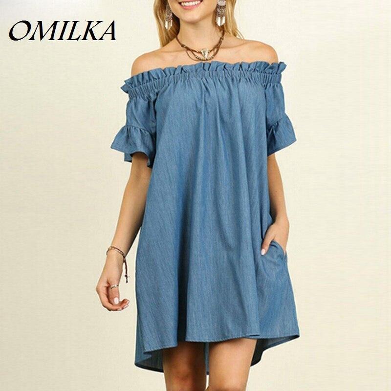 OMILKA 2017 Summer Women Plus Size Off Shoulder Denim Jeans Dress Sexy Blue Short Sleeve Slash Neck Beach Party Mini Dress S-5XL