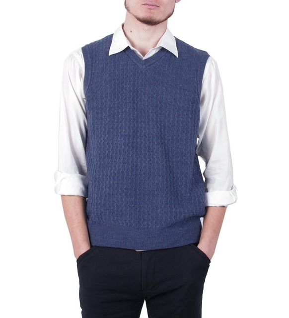 2016 Spring Autumn Men's clothing V-neck Slim Formal Plus Size Pullover Knitted Waistcoat Sweater Solid Color Vest Male Jersey