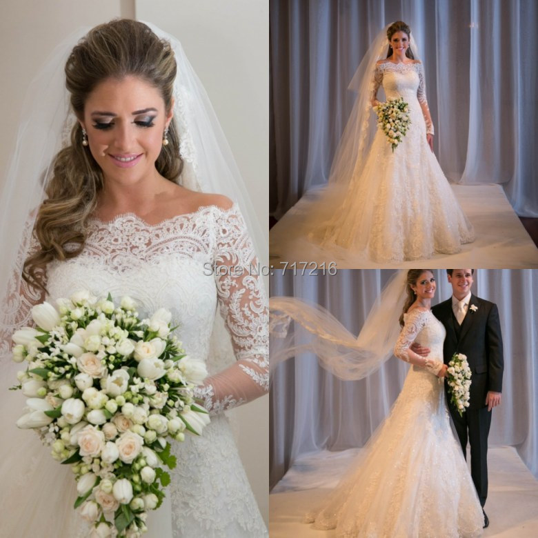 Sexy Mermaid Lace Wedding Dresses Classic Boat Neck Long Lace ...