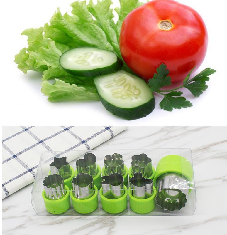 9Pcs Vegetable Cutter Shapes Set Fruit and Cookie Stamps Mold Cookie Cutter