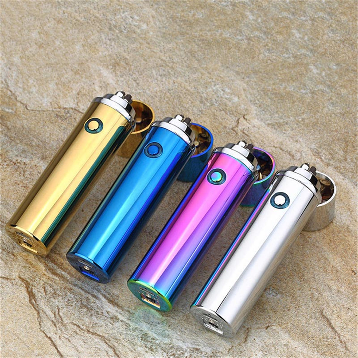 6 Colors Electronic Cigarette Lighter USB Rechargable Windproof Electric Double Arc Pulse Smoking Lighters Torch Gifts for Men in Lighters from Home Garden