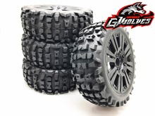 4pc GWOLVES 1/8 RC Buggy Scale Truck Off-Road Tyre Banner Wilderness tires glue wheels Contest practice for 1/8 RC car parts 4pcs 1 8 rc off road buggy snow sand paddle tires tyre and wheels for 1 8 rc car
