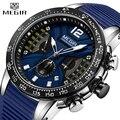 Новинка 2020, мужские часы MEGIR, роскошный бренд, силиконовый спортивный хронограф, кварцевые часы, мужские часы, водонепроницаемые, дата, военн...