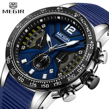 2019 New MEGIR Watch Men Luxury Brand Silicone Sport Chronograph Quartz Clock Mens Watches Waterproof Date Military Wrist