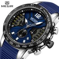 2019 New MEGIR Watch Men Luxury Brand Silicone Sport Chronograph Quartz Clock Mens Watches Waterproof Date Military Wrist Watch