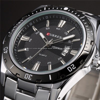 2014 Stylish CURREN Sports Men Watch Stainless Steel White Adjustable Full Stainless Steel Strap Military Watches
