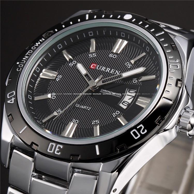 Mens Watches Top Luxury Brand CURREN 2018 Men Full Steel Watches Quartz Watch Analog Waterproof Sports Army Military WristWatch