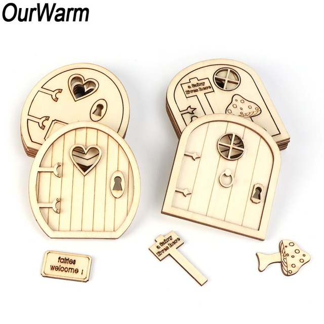 OurWarm 6pcs 3D Wooden Fairy Garden Door Christmas DIY Painting Decoration Kids Birthday Gift New Year Party Supplies