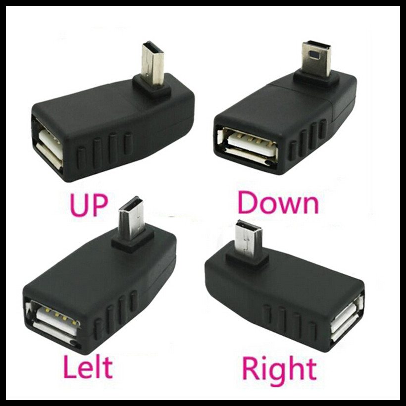 где купить USB Female to Mini USB Male 90 Degree Down right Angle Left Angle UP OTG Adapter for Car AUX Tablet Black Right Left Down по лучшей цене