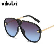 Oversize One Piece Sunglasses Women Men 2019 New Luxury Brand Vintage Pilot Sun