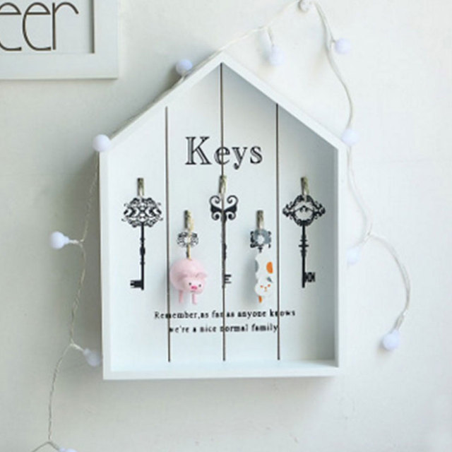 Home Decor Wooden Key Bo Wall Hanging Decoration Shelf Wood Housekeeper Box Decorative
