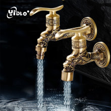 Luxury Antique Brass Decorative Outdoor Faucet Garden Bibcock Tap Bathroom Washing Machine /mop Faucet Washing Machine Taps C22