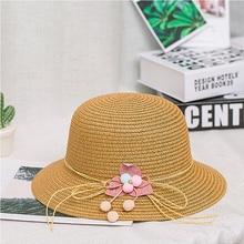 Childrens straw hat outdoor sun visor girl flower bow beach dome cute