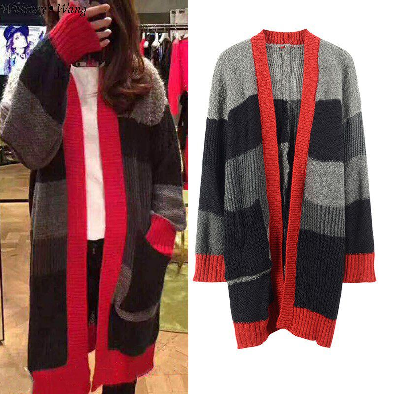 Hiver Cardigans Jumper Femmes Femme Mode Patchwork Contraste Chandails Whitney Automne Long Couleurs Pull Streetwear Multi Wang 2018 qwUnOt4xvT
