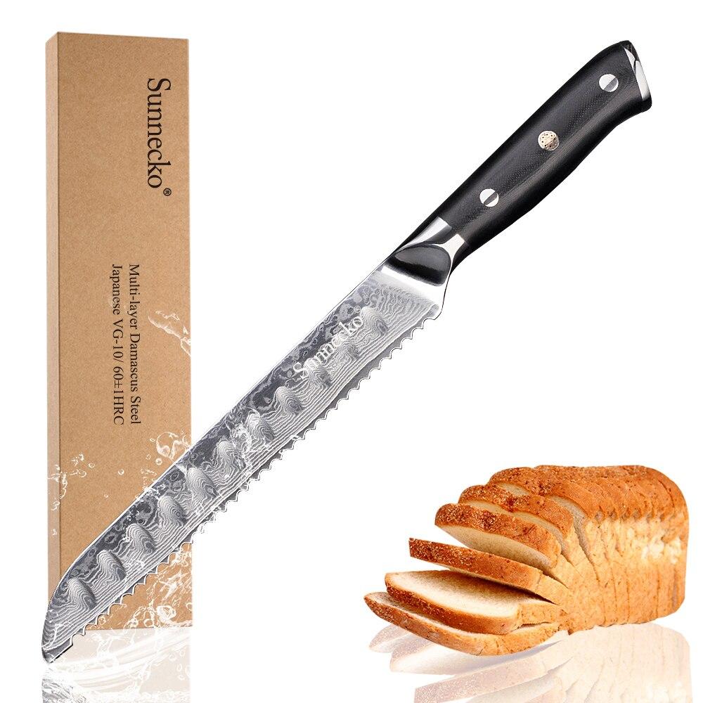 """جديد SUNNECKO 8 """"بوصة سكين تقطيع الخبز اليابانية VG10 الصلب الأساسية شفرة دمشق قطع الحلاقة شارب الشيف المطبخ الطبخ أداة g10 مقبض-في سكاكين مطبخ من المنزل والحديقة على  مجموعة 1"""