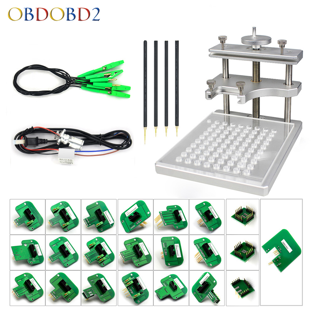 Newest Stainless Steel LED BDM Frame BDM Probe 22PCS Adapter ECU Chip Tuning Tools Red Board Pens For Ktag KESS FGTECH Free Ship best quality led bdm frame with 4 probe pens full set 22pcs bdm adapters fit for ktag kess fgtech bdm100 ecu chip proframmer