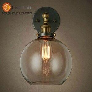 Image 4 - מודרני בציר קצר בציר מנורת קיר בסגנון אמריקאי ליד מיטת זכוכית רטרו ברזל קיר מנורת אמבר המיטה E27 קיר אורות (BK 50)
