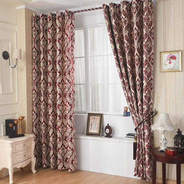 Red Jacquard Blackout Curtains Printed Window Curtain Living Room Cloth Home Textile Custom Bedroom