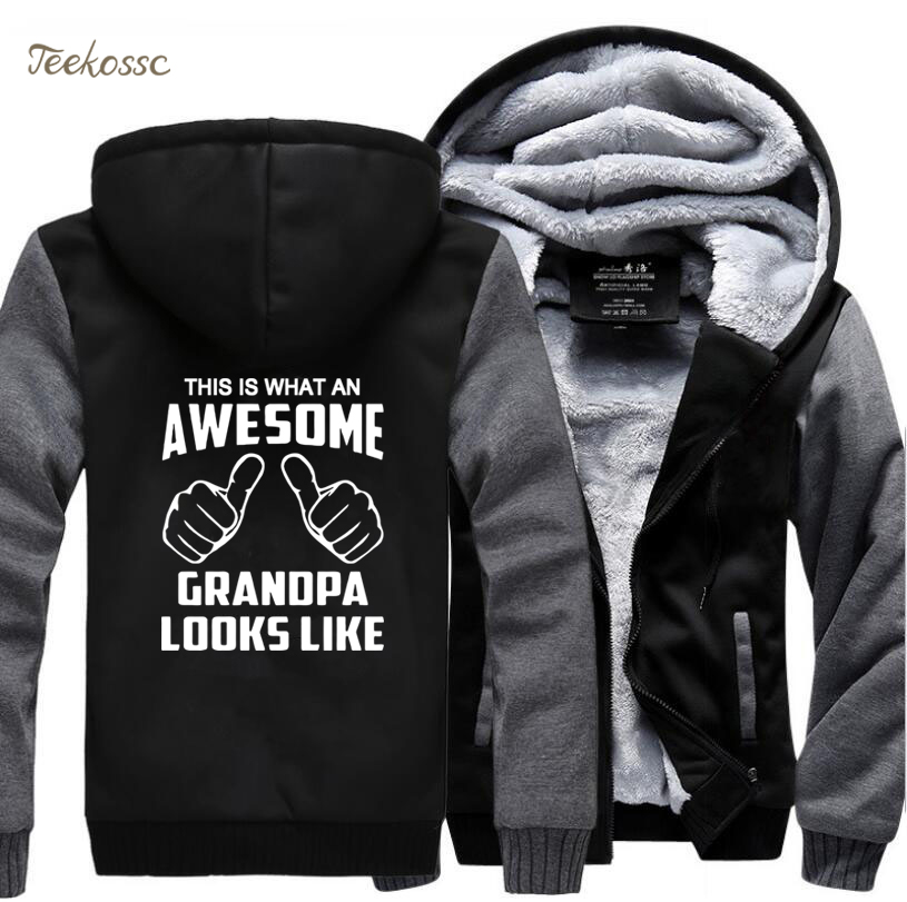 This is Awesome Grandpa Looks Like Punk Rock Hoodies Men 2018 Winter Warm Fleece Rock Hip Hop Sweatshirt Coat Thick Streetwear in Hoodies amp Sweatshirts from Men 39 s Clothing