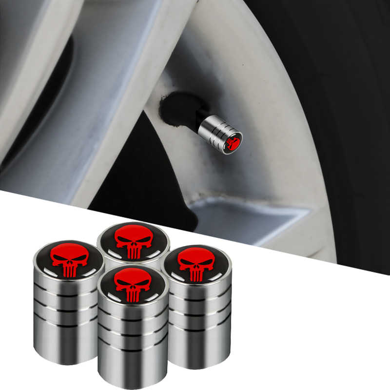 4pcs Car THE Punisher Skull Badge Wheel Tire Valve Cap Auto Tyre Dust Cap for bmw lada audi skoda mazda toyota car styling