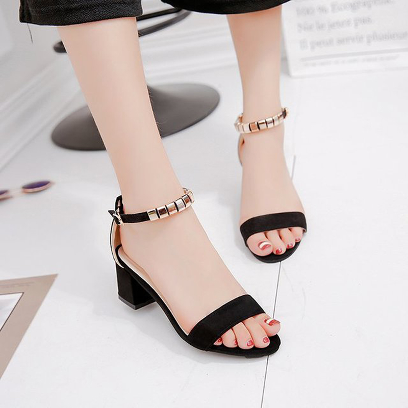metal String Bead Summer Women Sandals Open Toe shoes Women 39 s Sandles Square heel Women Shoes Korean Style Gladiator Shoes M185 in Middle Heels from Shoes