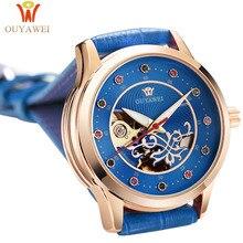 лучшая цена Watch Women OUYAWEI Brand Elegant Retro Watch Fashion Ladies Mechanical Watches Clock Women Casual Leather Women's Wristwatches