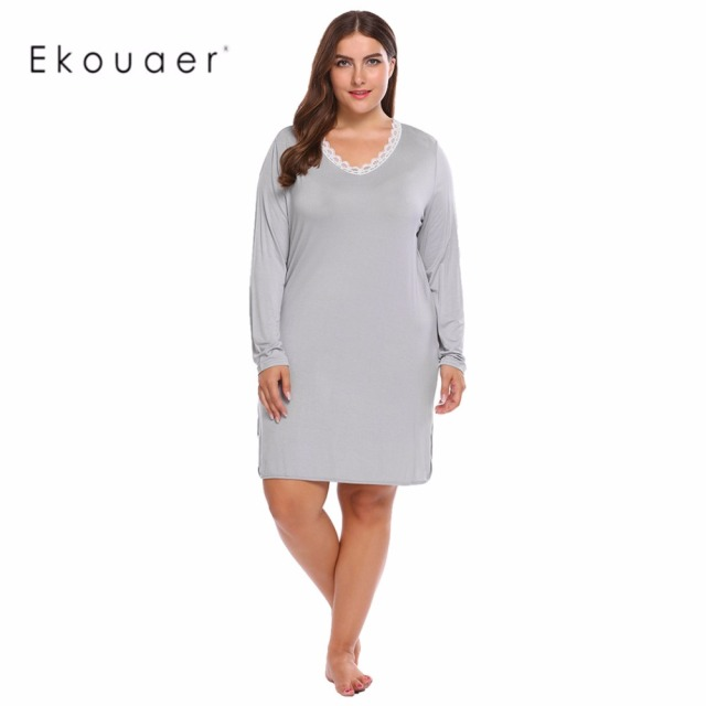 Ekouaer Women s Plus Size Night Dress Chemise Sleepwear Long Sleeve Casual  V-Neck Lace Split Nightgown Sleep Shirt Homewear a9029339b4fd
