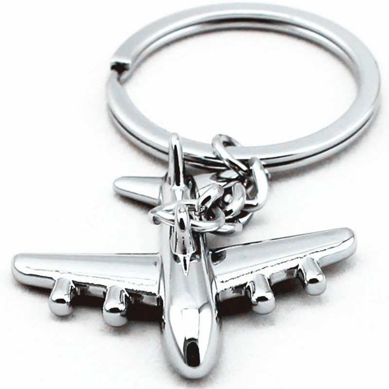 1pc New 40*40mm Keyring Mini Air Plane Metal Zinc Alloy Keychains Creative Cute Silver Key Chains Holder Purse Bag Gift Keyfob bicelle hydra b5 toner 240ml fresh