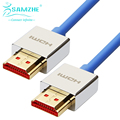 SAMZHE Ultra High Speed 18 Гбит 2.0 HDMI Кабель 3D 4 К * 2 К HDMI Кабель 1080 P Тонкий синий HDMI2.0 Кабель с Золотой Порт